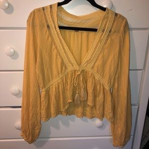 Free People Golden Embroidered Tassel Top